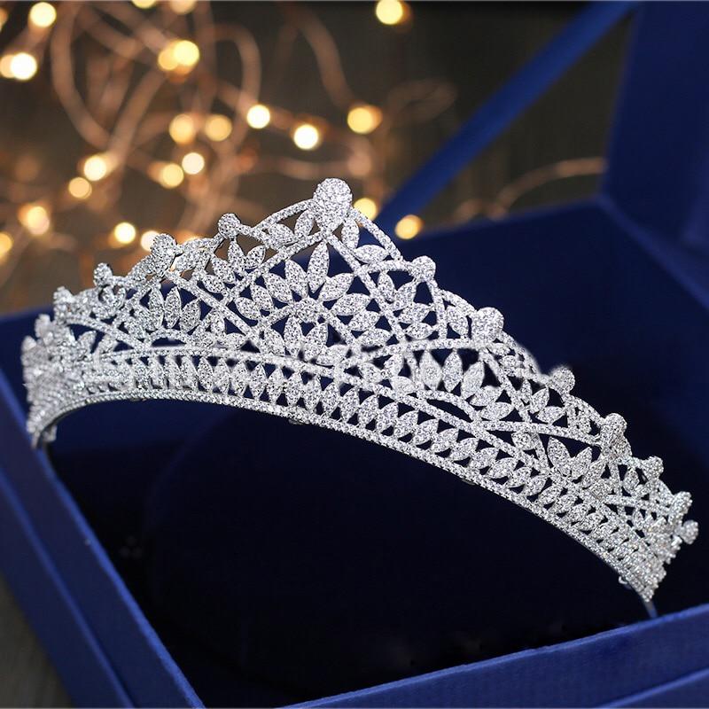 все цены на Jonnafe Paved Full Cubic Zircon Tiara Wedding Hair Crown Bridal Headpiece Women Prom Hair Jewelry Accessories