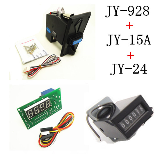 928+15A+24 coin operated time control device for cafe kiosk, multi coin selector with timer board and counter