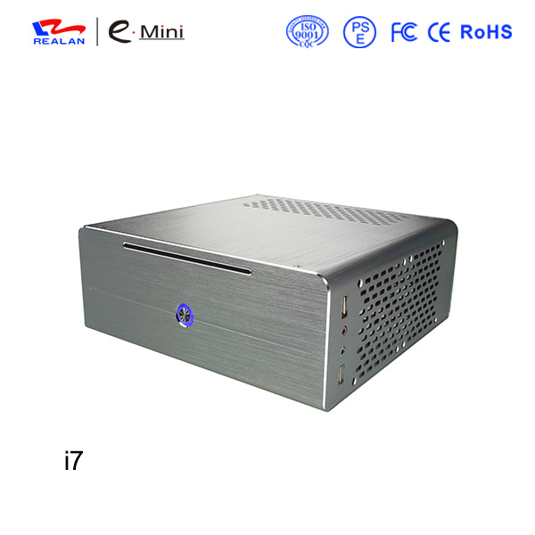 Realan aluminum mini itx desktop pc case E-i7 without power supply CD-ROM slots black silver realan industrial high quality oem mini htpc desktop case e i7 with power supply cd rom expansion slots aluminum black silver