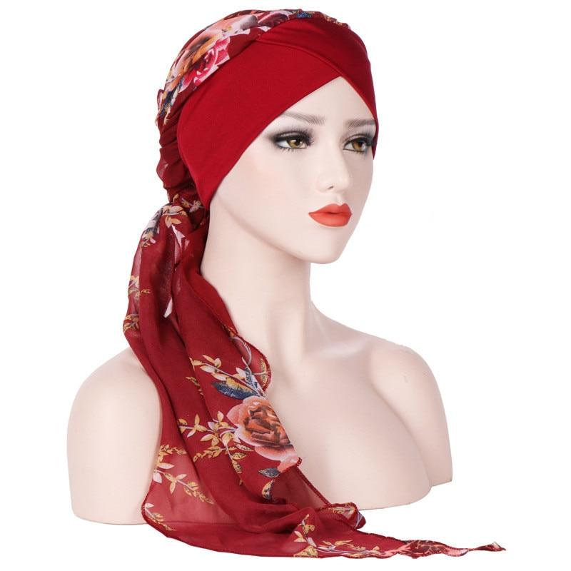 summer   beanies   for women Casual Forehead cross milk silk chiffon long tail Chemo Hat Hair Loss Head Scarf Turban Cap Wrap