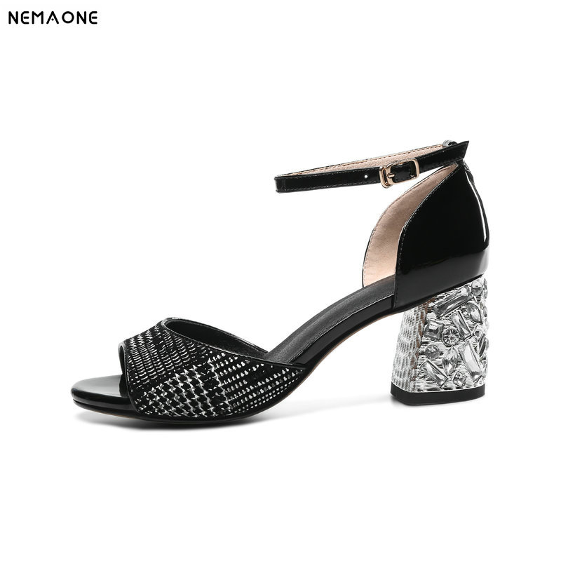 NEMAONE New cow leather summer shoes woman gladiator sandals thick high heels sexy peep toe women wedding dress shoes size 11 12 vinlle 2018 woman pumps thick high heel sexy peep toe black gladiator summer women shoes zipper wedding dating shoes size 34 43