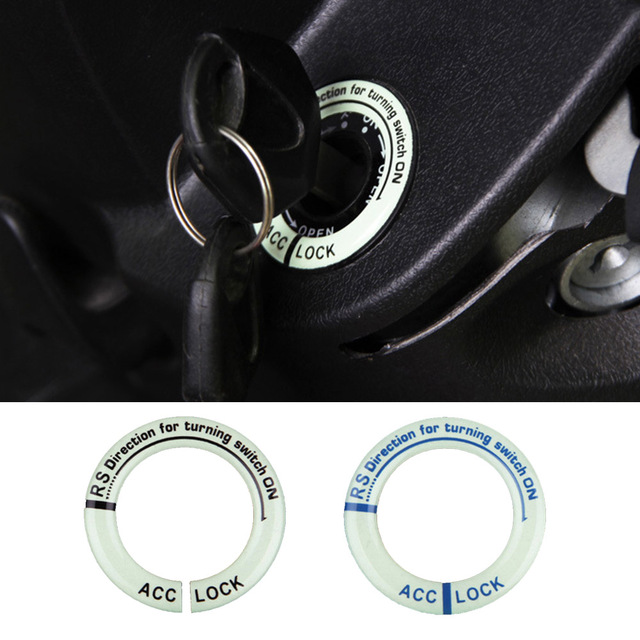1 Pcs Luminous Car Ignition Switch Alloy Cover Car Accessories Stickers Black /Blue