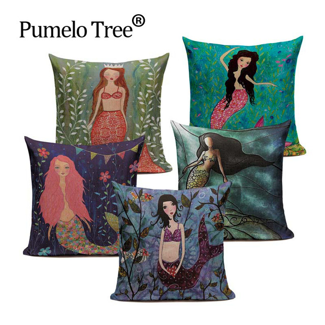 Peachy Us 4 26 39 Off Customized Cotton Linen Mermaid Doll Cartoon Cushion Pillows 45Cmx45Cm Square Bench Printed Pillow Case In Cushion Cover From Home Gmtry Best Dining Table And Chair Ideas Images Gmtryco