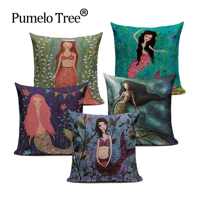 Customized Cotton Linen Mermaid Doll Cartoon Cushion Pillows 45Cmx45Cm Square Bench Printed Pillow Case