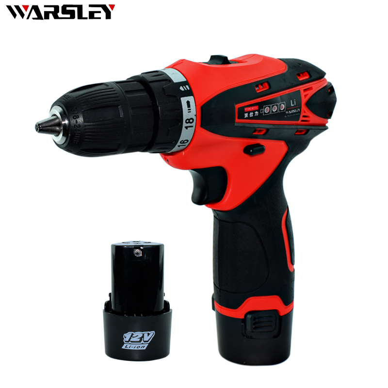 12V 2 Batteries Screwdriver Electric Drill Cordless Power Tools Mini Drill Battery Packs For Cordless Drill Two-speed Drill 24v 3000mah 3 0ah rechargeable battery pack power tools batteries cordless drill ni mh battery for makita bh2430 bh2433