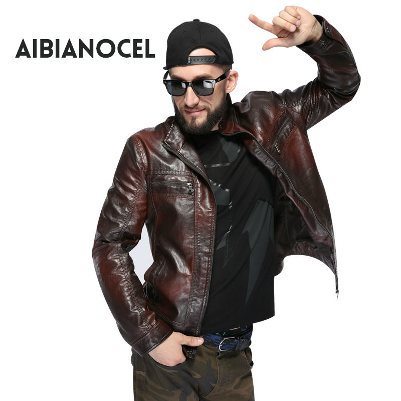 AIBIANOCEL New Fashion Style Faux Leather Coat Män Svart Leather - Herrkläder