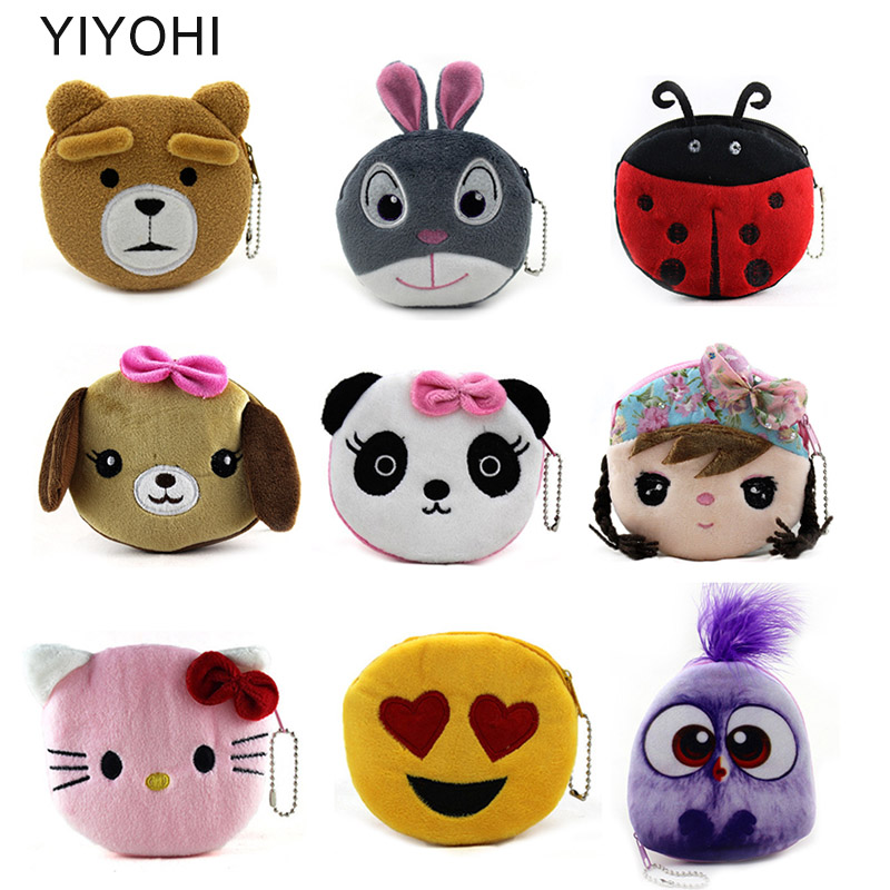 34 Styles Hot On Sale Kawaii Cartoon Panda/Kitty/Bird Children Plush Coin Purse Zip Change Purse Wallet Kids Girl Women For Gift yiyohi hot sale kawaii cartoon spirited away children plush coin purse zip change purse wallet kids girl women for gift