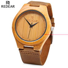 REDEAR Brand Simple Dial Unique Luxury Wood Watch Men Natural Bamboo Wooden Wristwatch Waterproof Clock Man Quartz Watch for Men