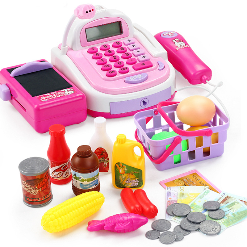 Mini Simulation Supermarket Checkout Counter Foods Goods Toys Kids Pretend Play Shopping Cash Register Set Toy For Girl's Gift