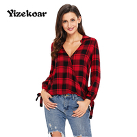 Yizekoar 2017 Casual Plaid Women Blouses Red Black Check V Neck Style Long Sleeve Shirts Loose