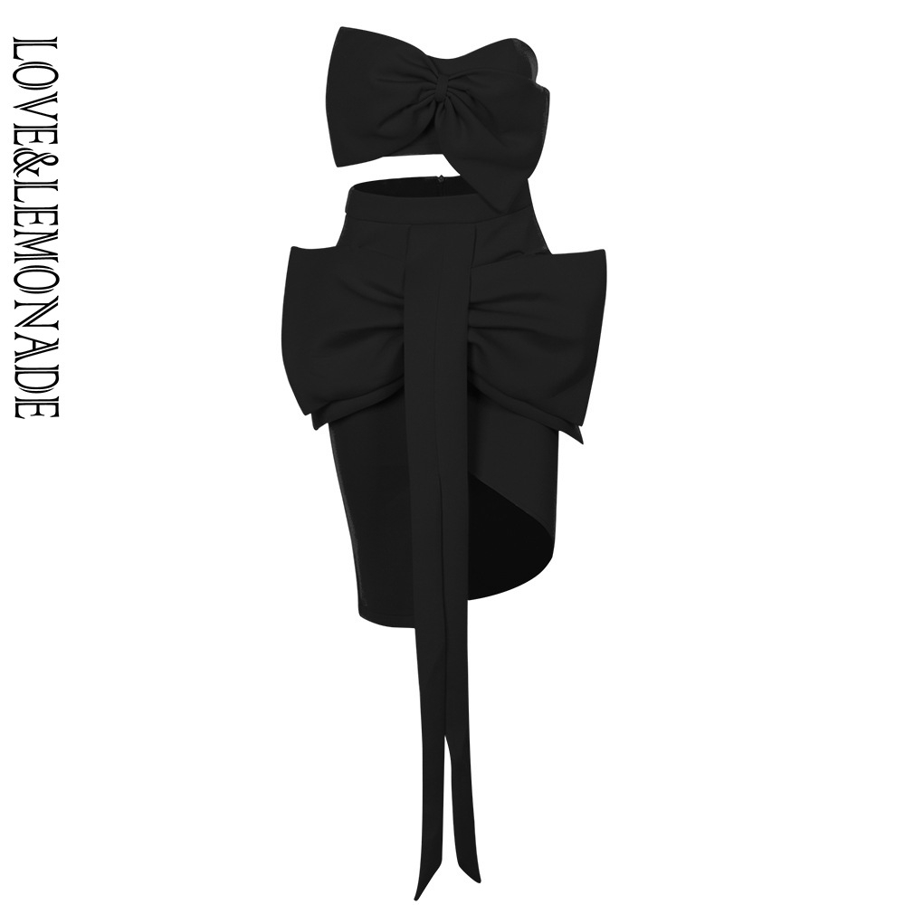 LOVE LEMONADE Sexy Black Two Pieces Bow Decoration Opening Air Layer Material Set LM90051