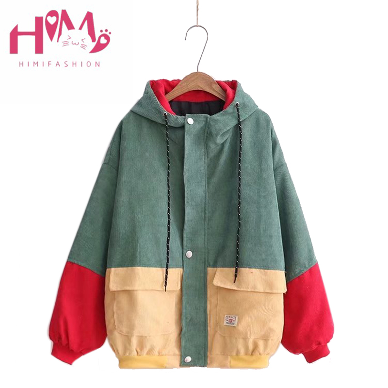 2018 Spring Women Harajuku Corduroy Hooded Jacket Color Block Loose Oversize Coat Cardigan Jacket Zipper College
