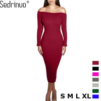 Long Sleeve Sleeveless Slash Neck Sexy Club Women Dress Bodycon Knitted Sweater Knee Length Party Night