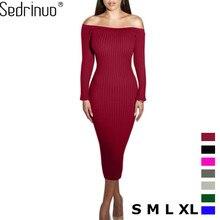 Fashion Long Sleeve Off Shoulder Slash Neck Sexy Club Women font b Dress b font Slim