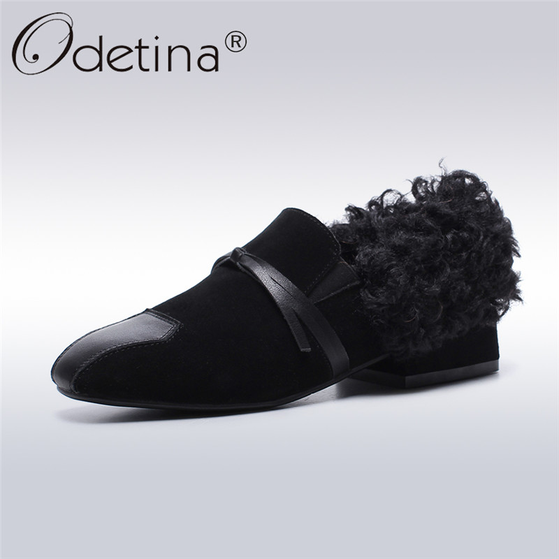 Odetina 2017 New Fashion Genuine Leather Womens Fur Loafers Slip on Casual Shoes Winter Warm Chunky Low Heel Pumps Big Size 43 slip on men casual shoes male sandal new fashion genuine leather low heel high quality brand korean style thick bottom plus size