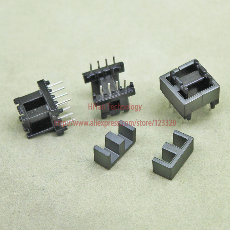 20sets/lot EE13 PC40 6 6 Ferrite Magnetic Core and 4 Pins + 4 Pins Side Entry Plastic Bobbin Customize Voltage Transformer 20sets lot ee16 pc40 ferrite magnetic core and 5 pins 5 pins side entry plastic bobbin customize voltage transformer