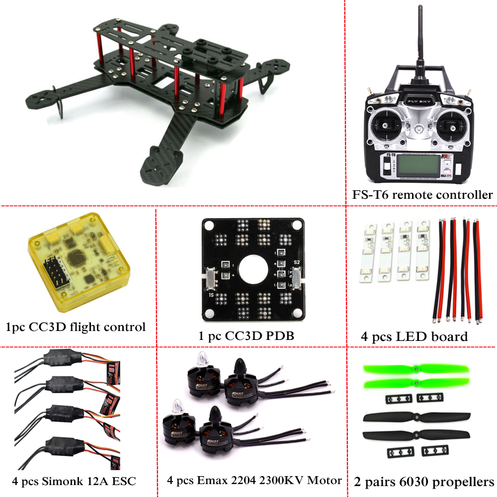 drone with camera Carbon Fiber Mini QAV250 C250 Quadcopter Frame Motor 12A Esc CC3D Flight Control FPV купить