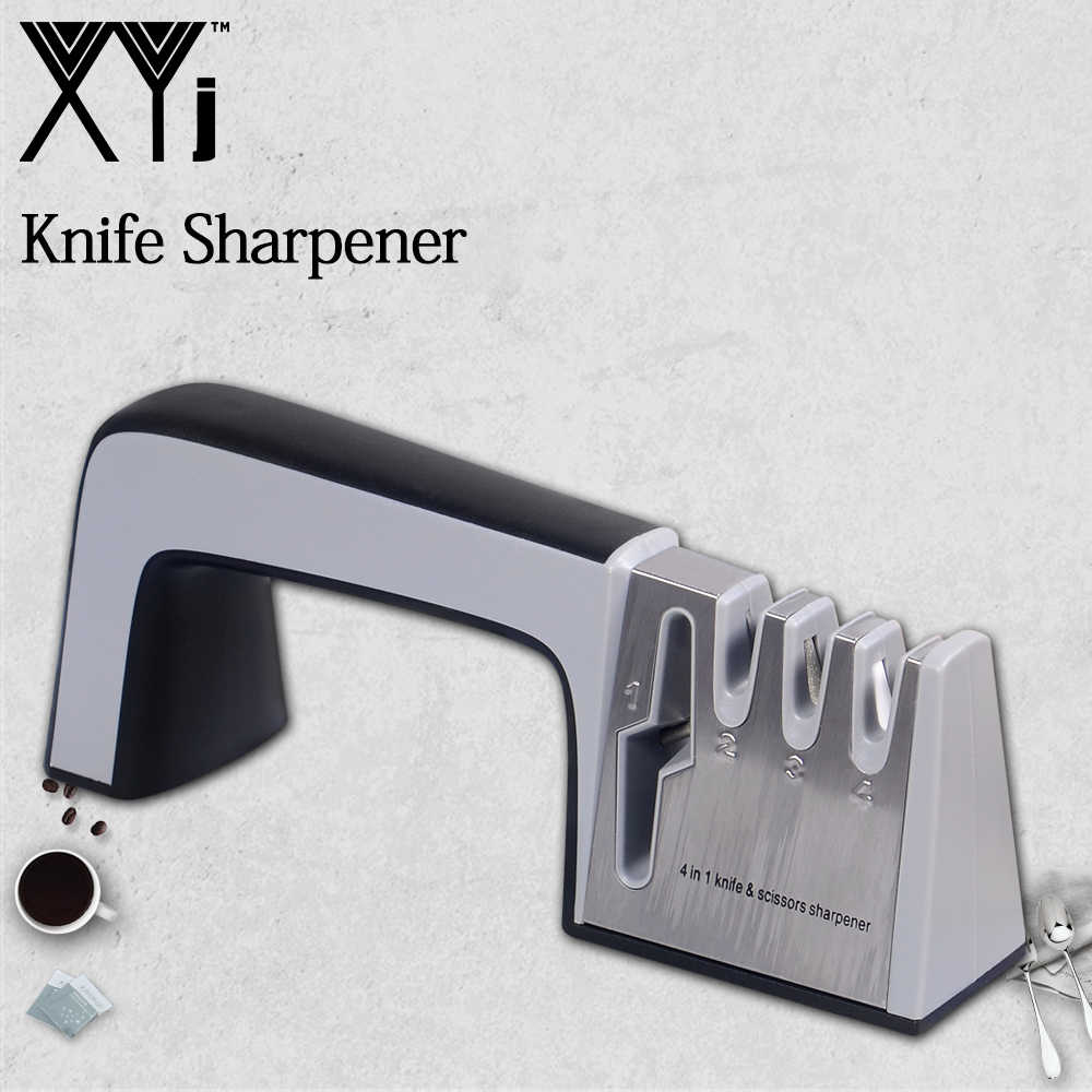 XYj Brand Knife Sharpener 4 in 1 Diamond Coated & Fine Steel Rod Knife and Scissors Sharpening System Kitchen Tools Available