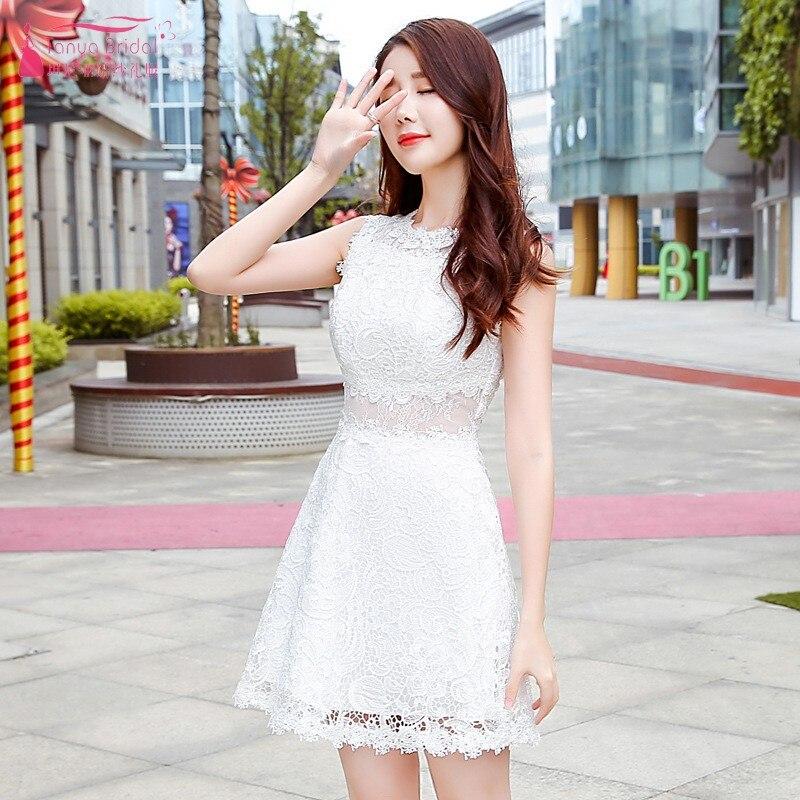 TANYA BRIDAL O Neck Sleeveless Lace New Wedding Party Dress Waist Illusion Formal 2019 Women Gown Homecoming Dress JQ447