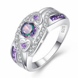 LKO Новое поступление разных цветов и фиолетового белого CZ серебряного цвета кольцо для женщин подарок ювелирные изделия Размер 6 7 8 9 10