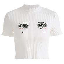 2019 Summer Cotton Print Eyes Cartoon Ribbed T-shirt Short Sleeve Women  Tee Embroidery whipstitch trim ribbed tee
