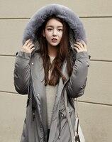 Nuevo invierno muchachas de la capa de abrigo largo y grueso mujer de cuerpo entero mangas de color sólido caliente parkas con capucha negro gris abrigos casual señora