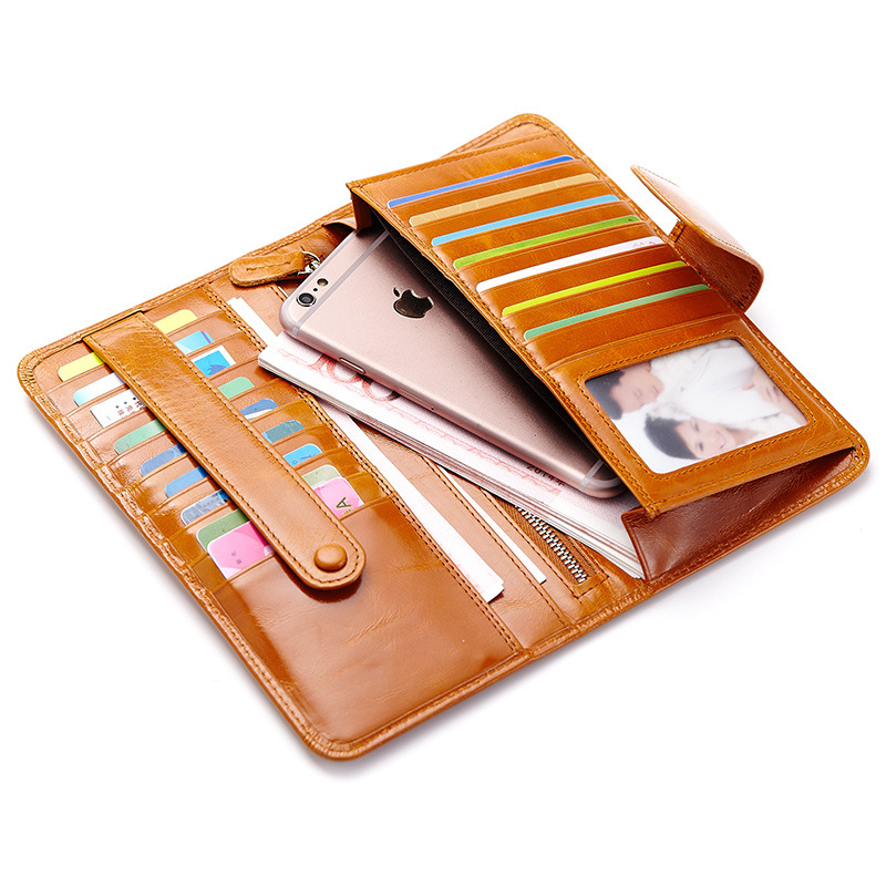 Retro Long Wallet Genuine Leather Passport Package Multi Card Credit Large Mobile Phone Card Package ID Holders Card Photo Walle nahoo lanyard id badge clip name label plastic badge leather card holder vertical credit card bus card holder office supplies