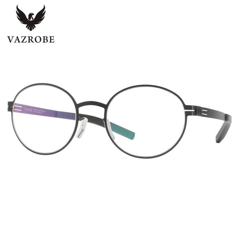 vazrobe no screw designer glasses frame men wome round stainless steel eyeglasses frames ultra light