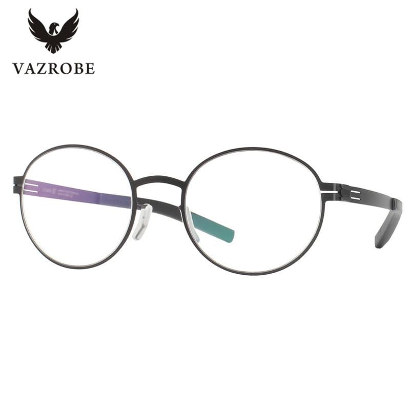 vazrobe no screw designer glasses frame men wome round stainless steel eyeglasses frames ultra light