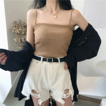 Spring and summer new style Vintage knit striped camisole Summer slim fashion sexy vest