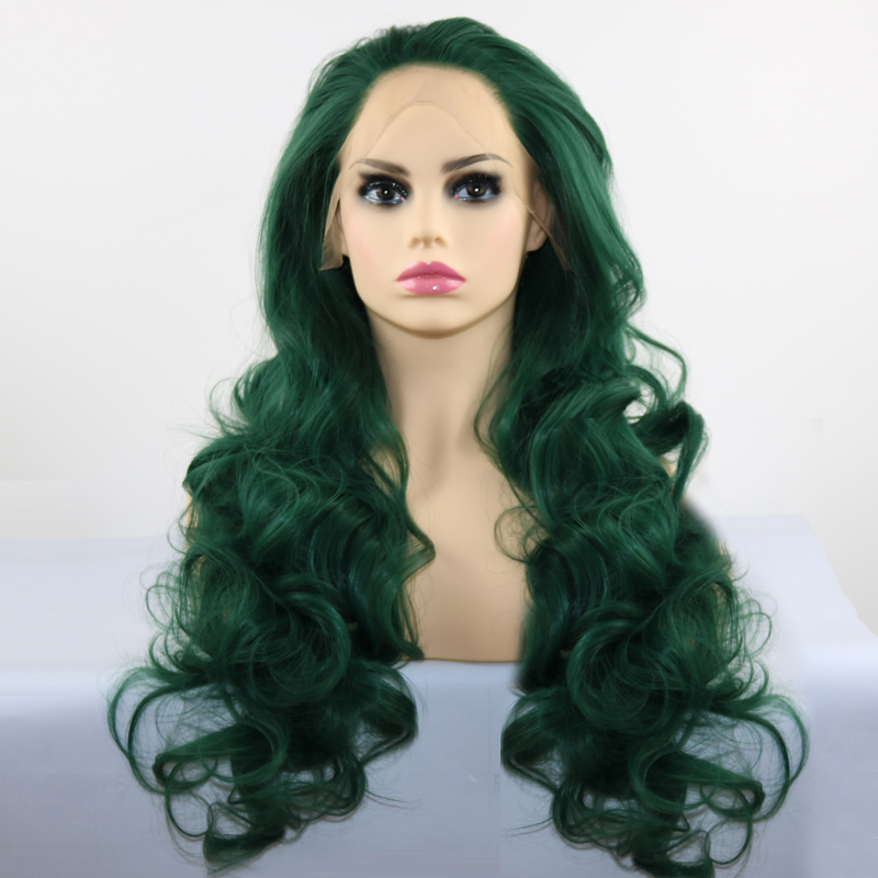 Fantasy Beauty Long Body Wave Hair Synthetic Lace Front Wigs Green Color Wig 26 Inch Glueless 180% Density Wigs For Black Women