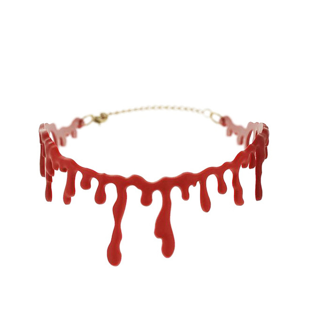 Novelty Imitation Blood Wound Tassel Necklace Choker for Halloween Decor Red
