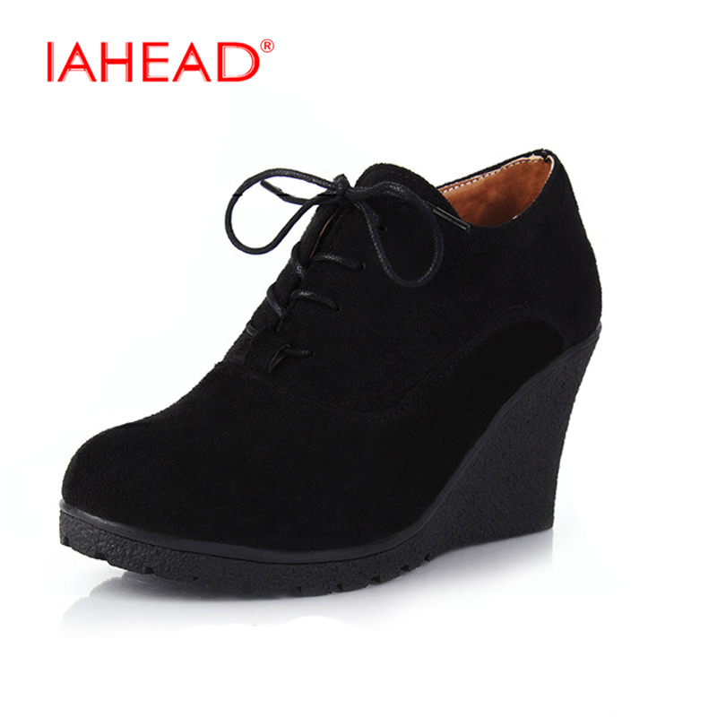New Wedges Women Boots Fashion Flock High-heeled Platform Ankle Boots Lace Up High Heels Spring Autumn Shoes For Women UPA361 akexiya 2017 new wedges boots fashion flock women s high heeled platform ankle boots lace up high heels spring autumn shoes
