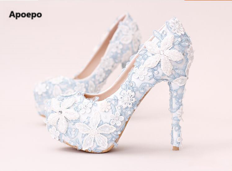 Apoepo White Lace Flower Embroidery High Heel Shoes 2018 Blue Pearls Beaded Wedding Shoes Heels For Woman Sexy Platform Pumps ivory fashion lace flowers flat heel wedding shoes woman pearls ankle beading beaded anklet sweet flower girls bridesmaid shoes
