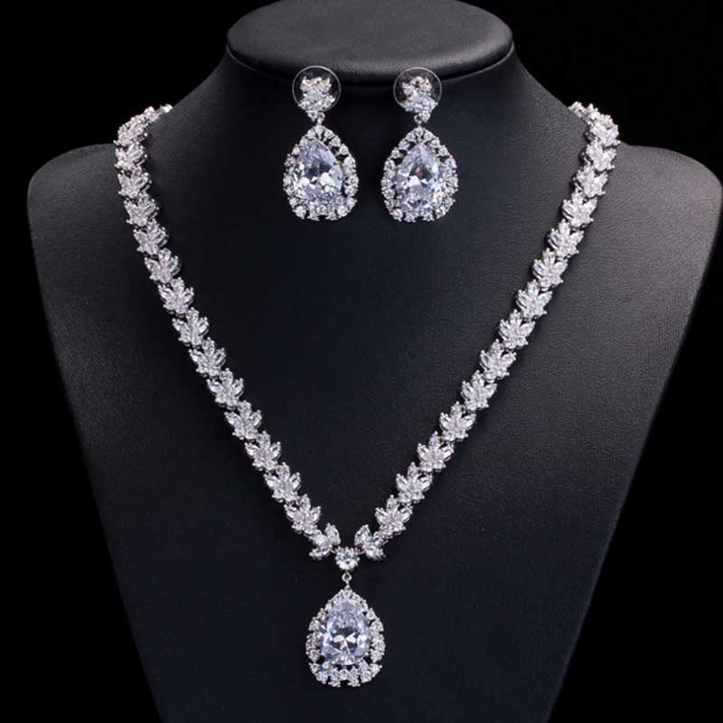 Moonso Sterling Silver Wedding Party Sets Big Pear Necklace African Nigerian J2377