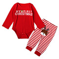 Cute Deer Applique Baby Girl & Boy Clothes Set Red Long Sleeve Bodysuit + Pants Outfits 'My First Christmas' Costume YM29TZ