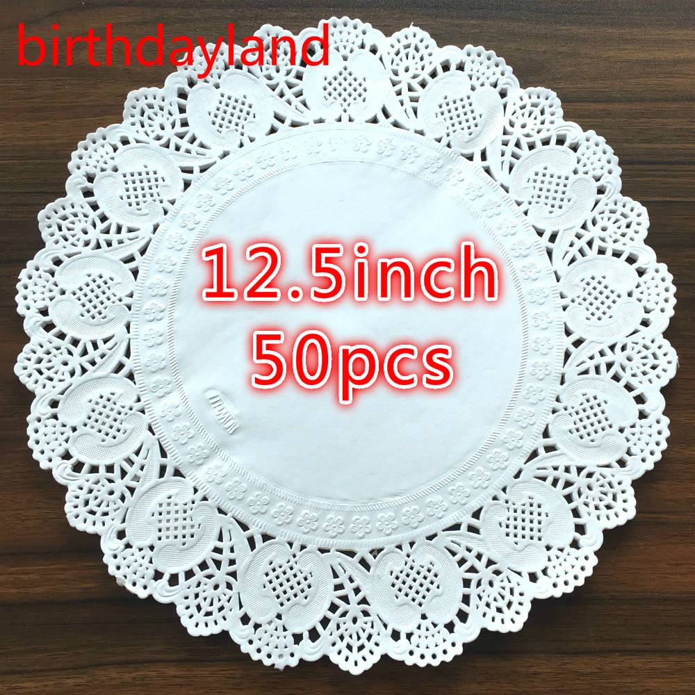 50pcs 12 5inch Diameter 32cm White Round Lace Paper