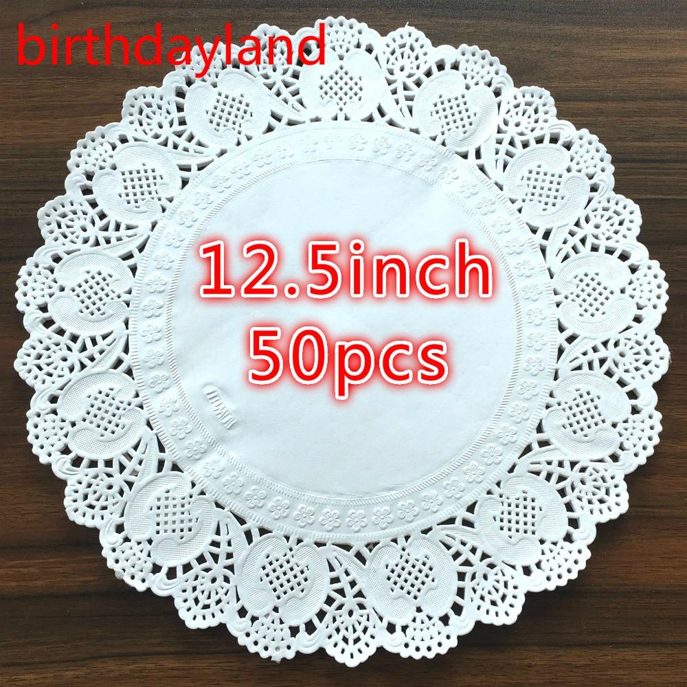 50Pcs 125inch Diameter 32cm White Round Lace Paper