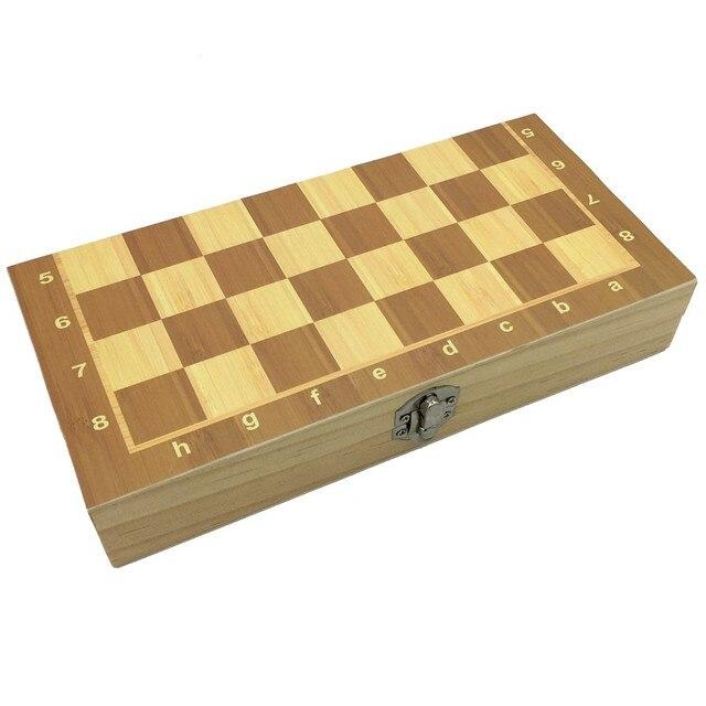 Ensemble d'échecs magnétiques et pliants en bois, taille 23.7cm x 23.7cm 6