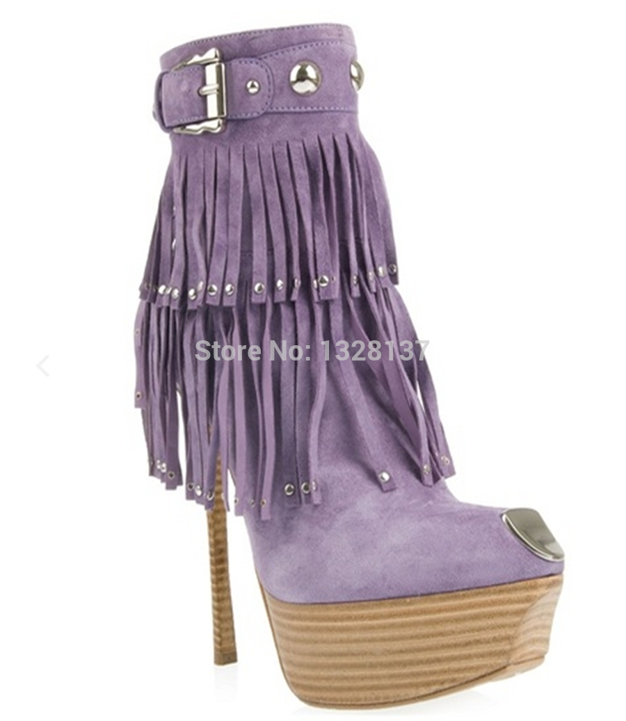2017 Big Size Purple Charm Platforms Tassel Rivets Buckle Suede Boots Sexy High Heels Shoes Women