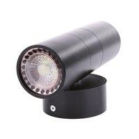 Black LED Wall Light Waterproof IP65 Stainless Steel Up Down GU10 Double Wall Lamp Indoor Outdoor