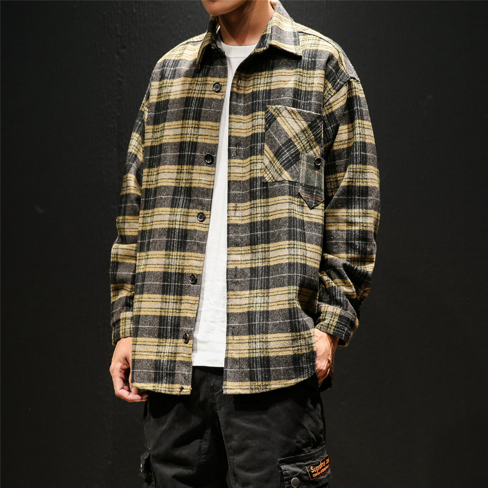 High Quality Autumn Winter New Shirt Men Brand 2019 Loose Vintage Plaid Men Casual Shirts Long Sleeve Thick Blouse Homme 2XL-M