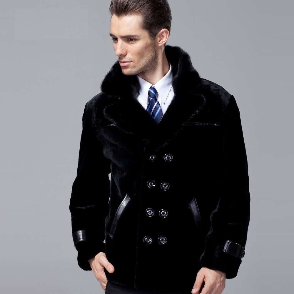 New 2017 Men's Genuine Real Australia Sheepskin Wool Coat with Mink Fur Collar Male Winter Jacket Black Plus Size XL 2XL 3XL 4XL