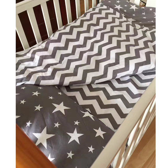 100% Cotton Baby Bedding Set Bed Linen 3cps/set (Pillowcase+Bed Sheet+Quilt Case)Ins Hot Baby Crib Bedding Set Without Filling