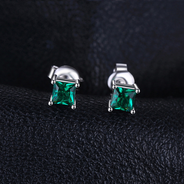 JewelryPalace Square 0.6ct Created Created Emerald 925 Sterling Silver Stud Earrings Classic Fine Jewelry for Women