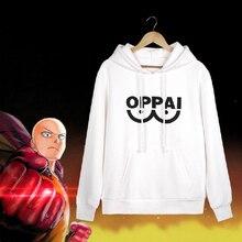 Anime PUNCH-MAN Oppai Cosplay sudaderas con capucha otoño invierno con capucha hombres mujeres blanco chaqueta de lana Harajuku sudaderas