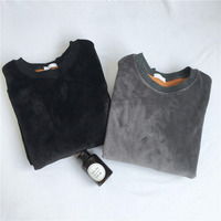 Very good quality velvet hoody woman long sleeve autumn winter thick velour top O neck female gray black smooth sweatshirt loose