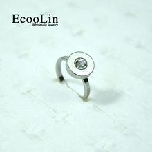 Кольца из нержавеющей стали с фианитом круглой огранки 10 шт