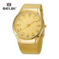 BELBI Top Men Quartz Watches Brand Ultra-thin Steel Watchstrap Clock Ship Dial Design for Business Gold Relogio Masculino
