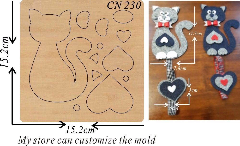 Cat heart shaped new wooden mould cutting dies for scrapbooking Thickness 15 8mm